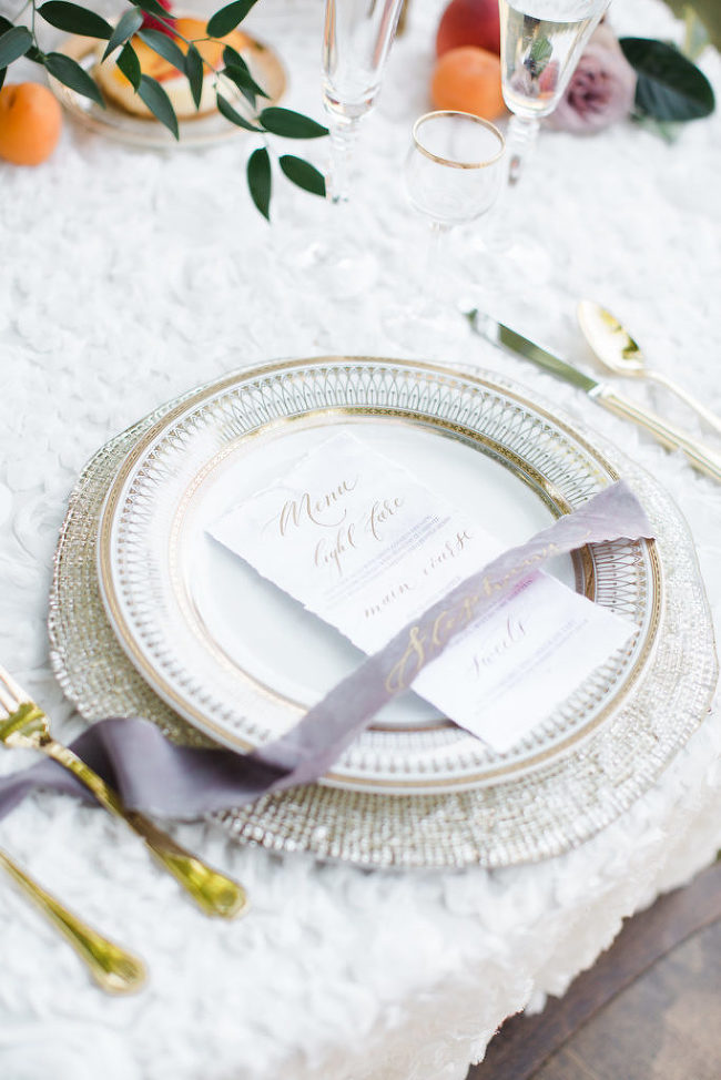Dinner Menu | Silver Fox Calligraphy | Ashley Slater Photography